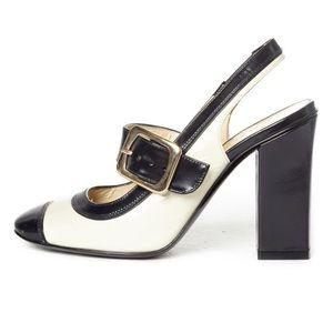 Marc by Marc Jacobs Black & Cream Slingback Heels